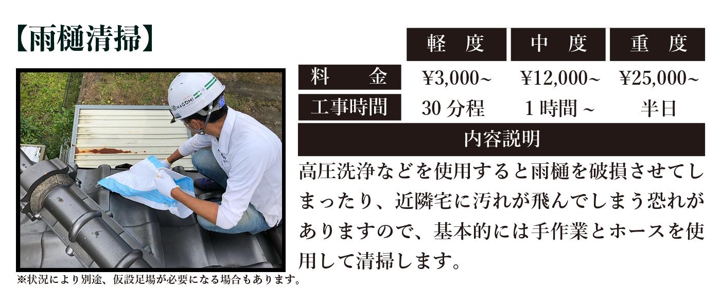 雨樋掃除の料金と工期|仙台市内