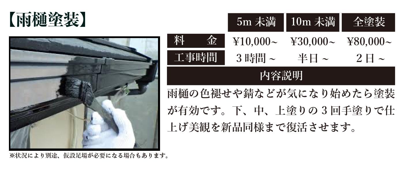 雨樋塗装料金と工期|仙台市内